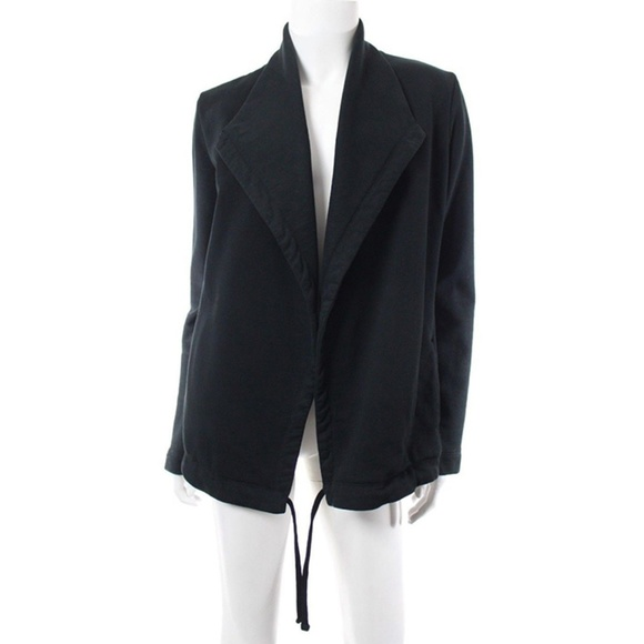 James Perse Jackets & Blazers - James Perse Black Drape Front Drawstring Jacket